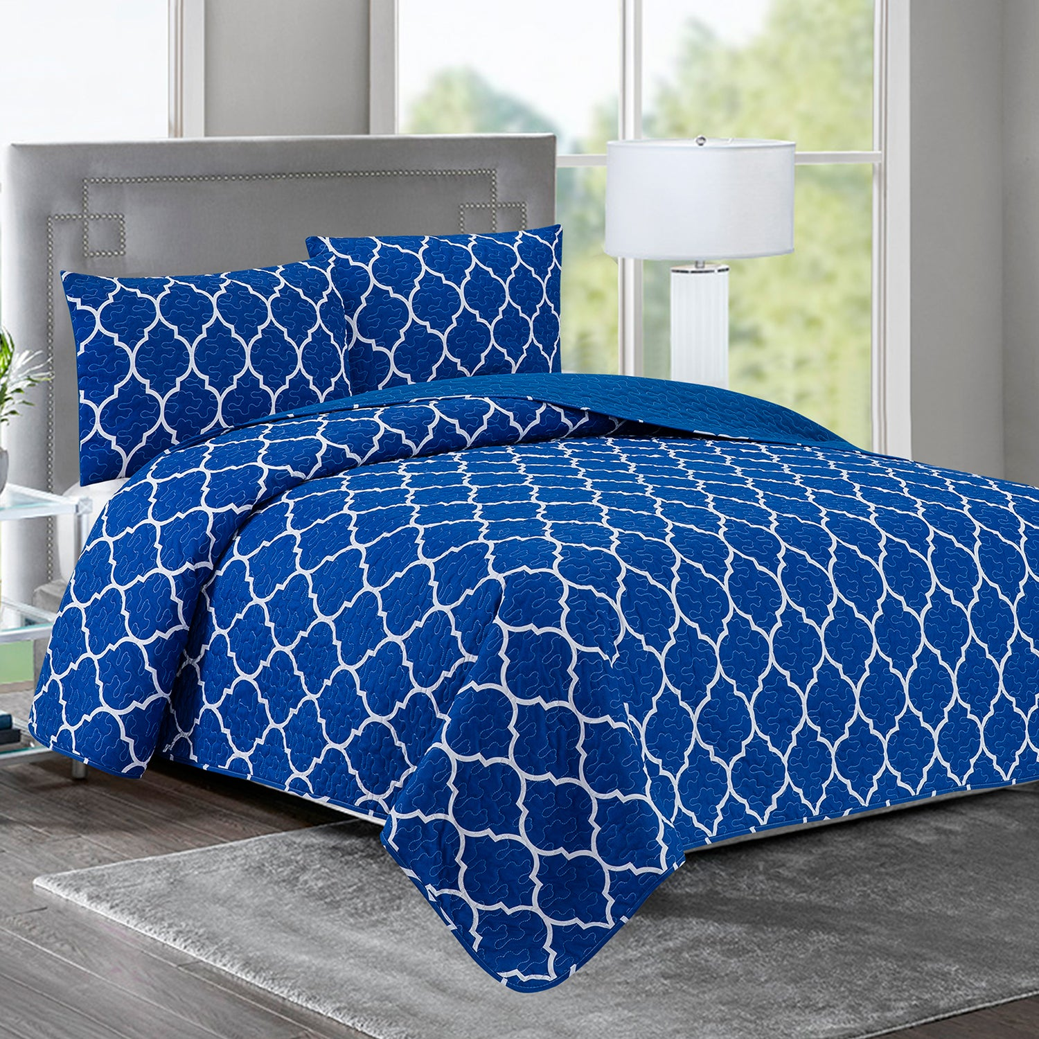 Elisa - 3 Piece Reversible Quilt Set - Blue Geometric - Glory Home Design