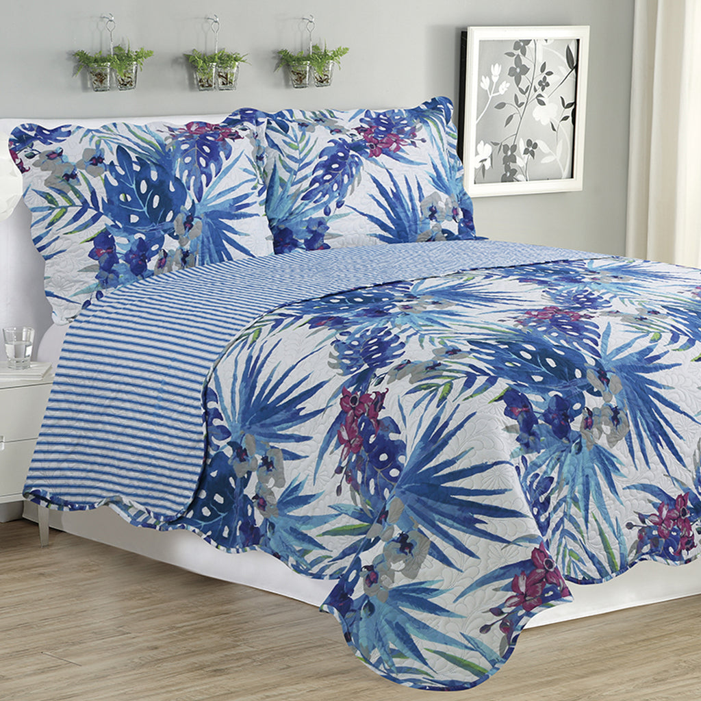 Melissa - 3 Piece Quilt Set - Blue Floral - Glory Home Design