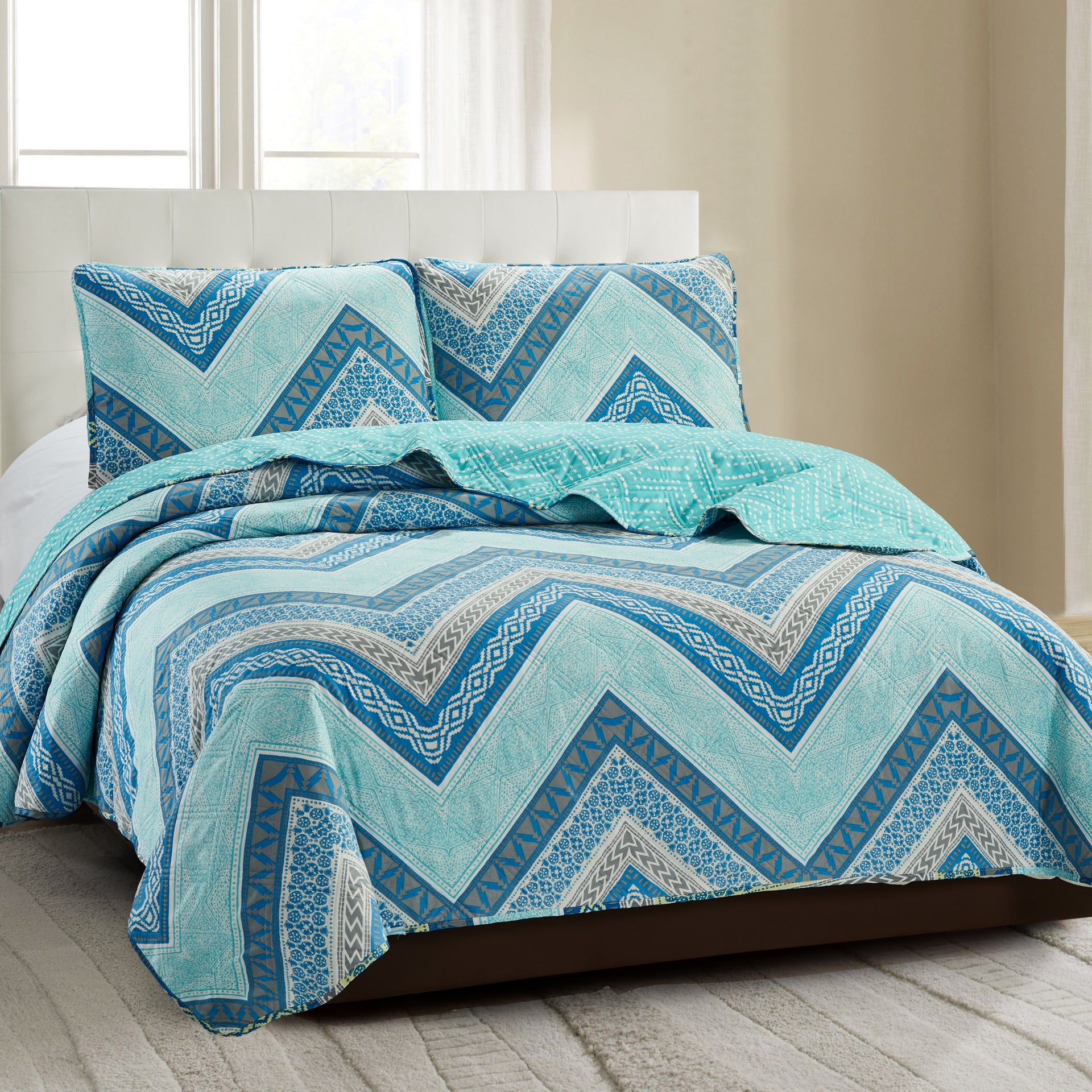 Grace 3 Piece Quilt Set - Blue Chevron - Glory Home Design