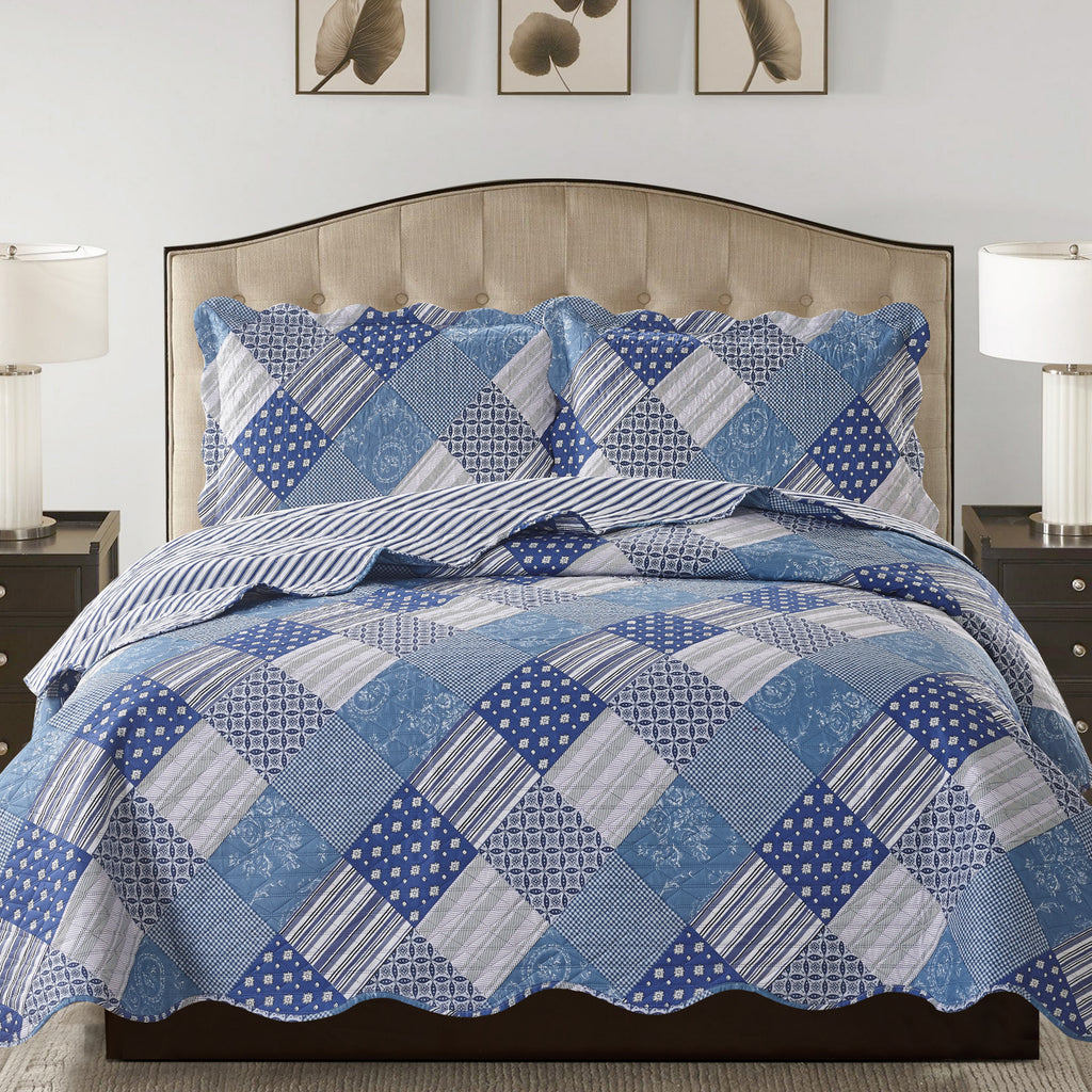 Jennifer 3 Piece Quilt Set - Blue - Glory Home Design