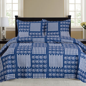 Nikki - 3 Piece Quilt Set - Navy - Glory Home Design