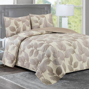 Elisa - 3 Piece Reversible Quilt Set - Brown Leaves - Glory Home Design