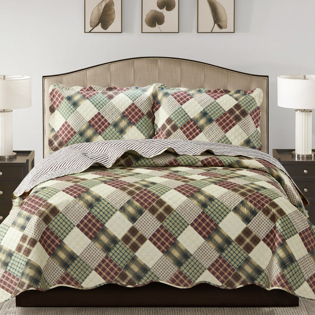 Jennifer 3 Piece Quilt Set - Brown - Glory Home Design