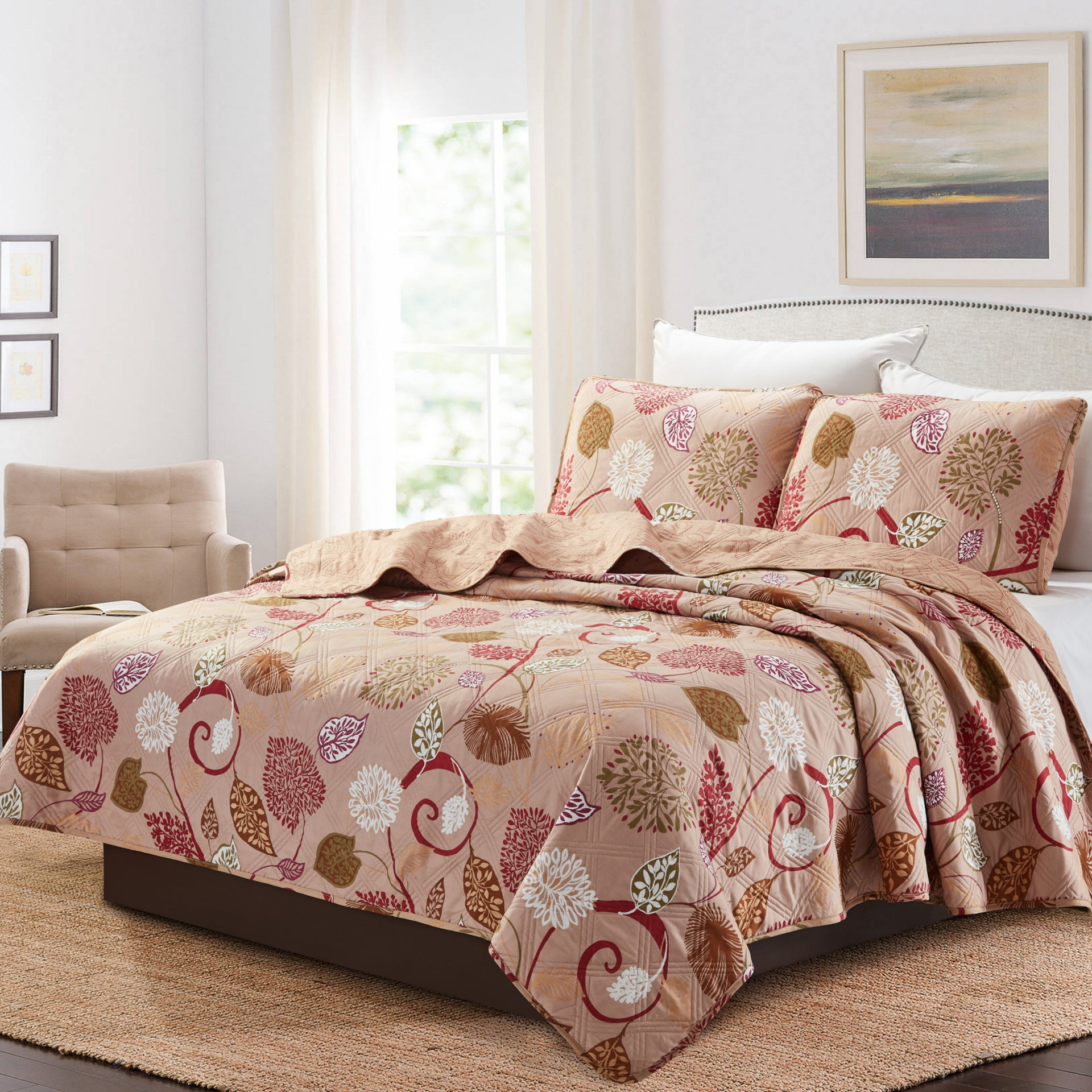 Juliet 3 Piece Quilt Set - Burgundy - Glory Home Design
