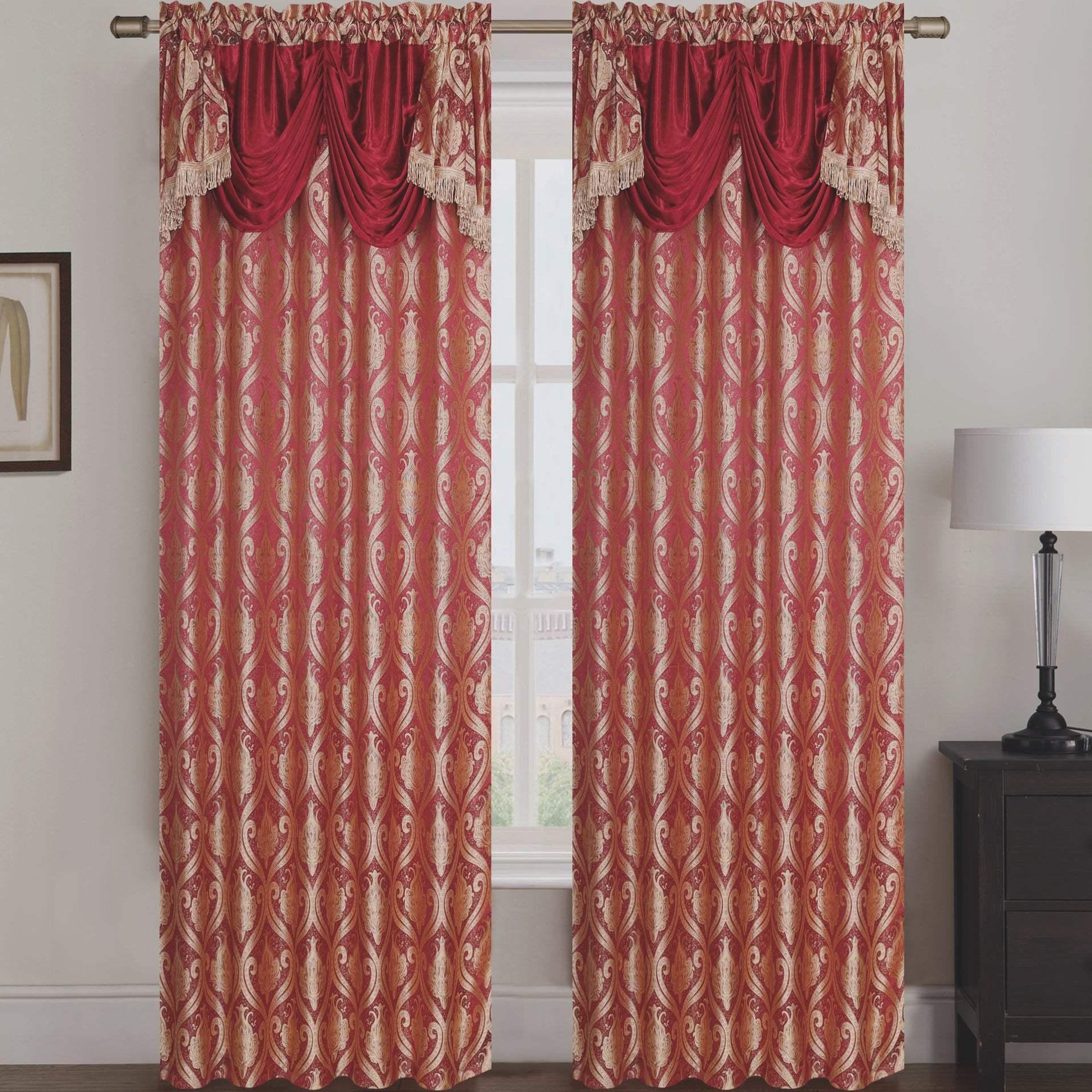 Rebecca Jacquard Rod Pocket Panel with Attached Valance Set of Two - Assorted Colors - Glory Home Design
