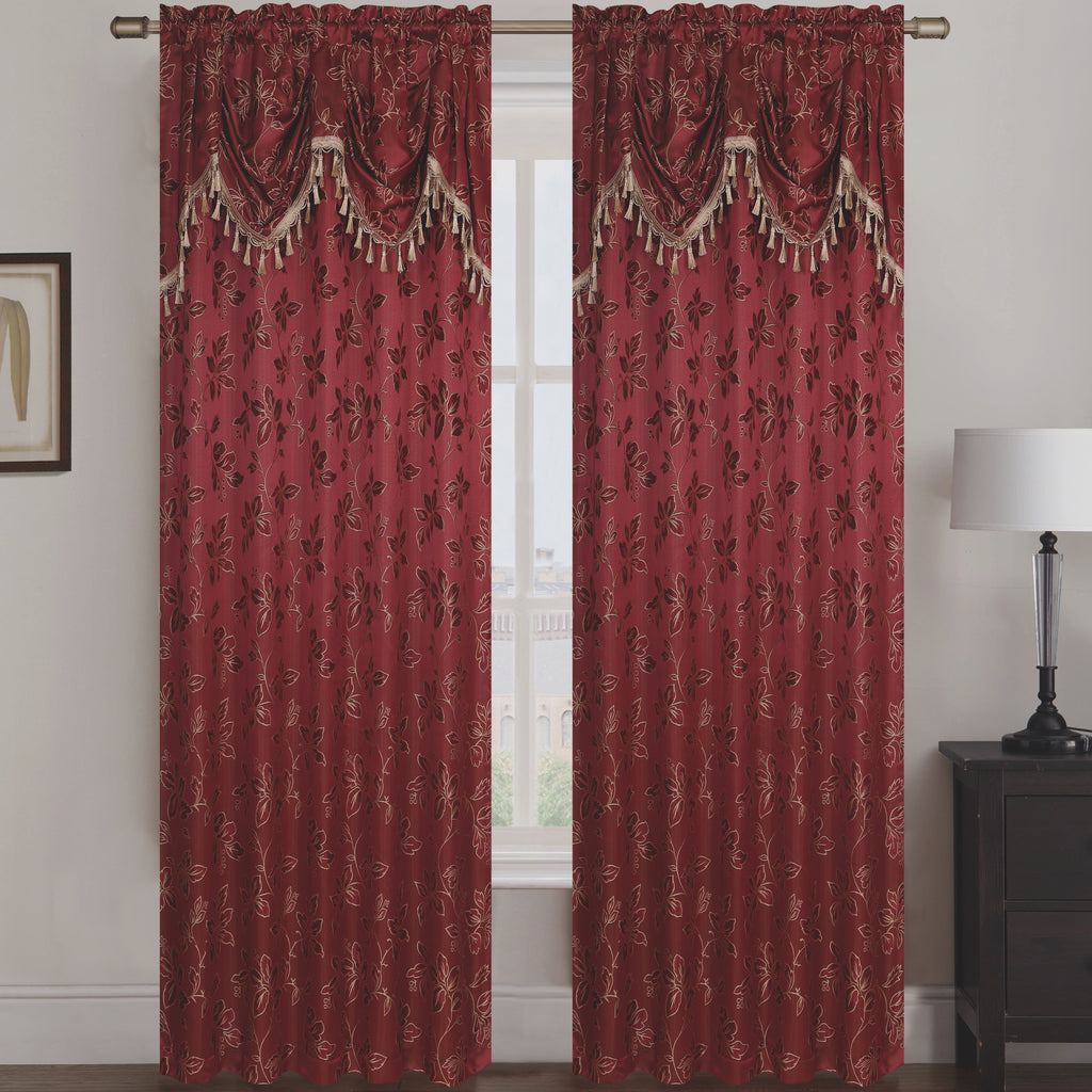 Shelly Jacquard Rod Pocket Panel with Attached Valance Set of Two - Assorted Colors - Glory Home Design