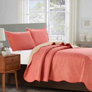 Sherry - 3 Piece - Solid Reversible Quilt Set - Coral - Glory Home Design