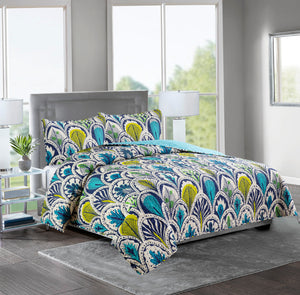 ASHLEY - 3 Piece Reversible Quilt Set - BLUE YELLOW PATTERN - Glory Home Design