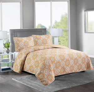 ASHLEY - 3 Piece Reversible Quilt Set - TAUPE MEDALLION - Glory Home Design