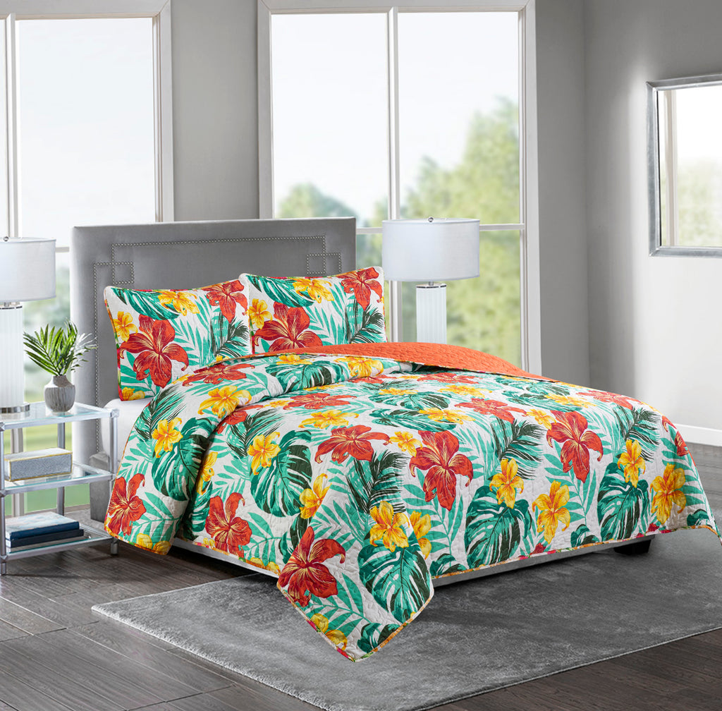 ASHLEY - 3 Piece Reversible Quilt Set - RED FLOWER /PALM LEAF - Glory Home Design
