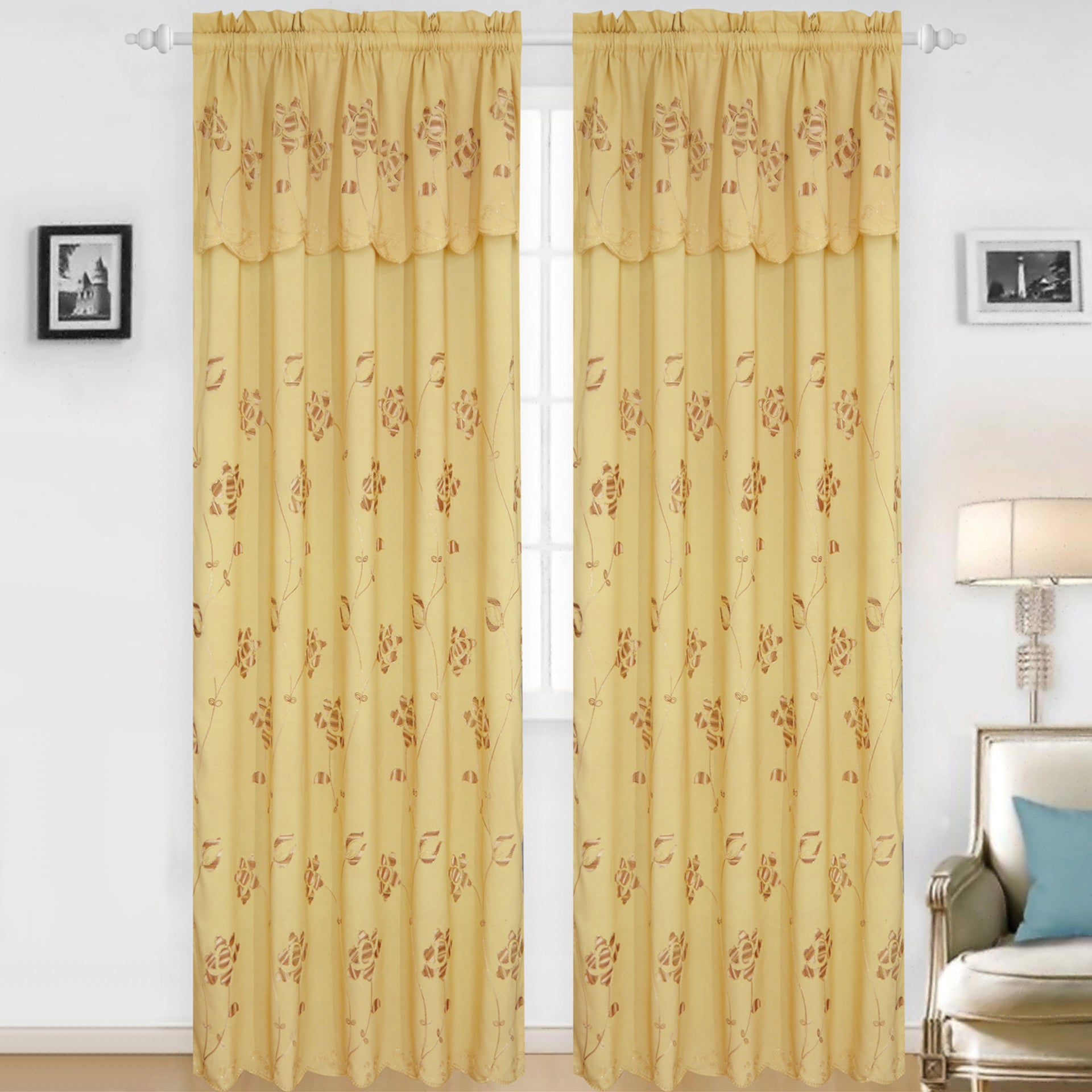 Claire - Jacquard Rod Pocket Panel with Attached Valance Set of Two - Assorted Colors - Glory Home Design