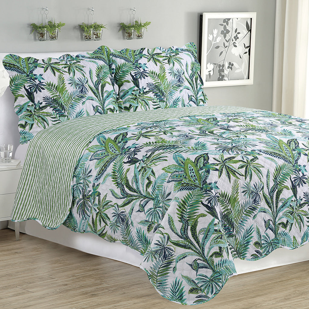 Melissa - 3 Piece Quilt Set - Jungle Green - Glory Home Design