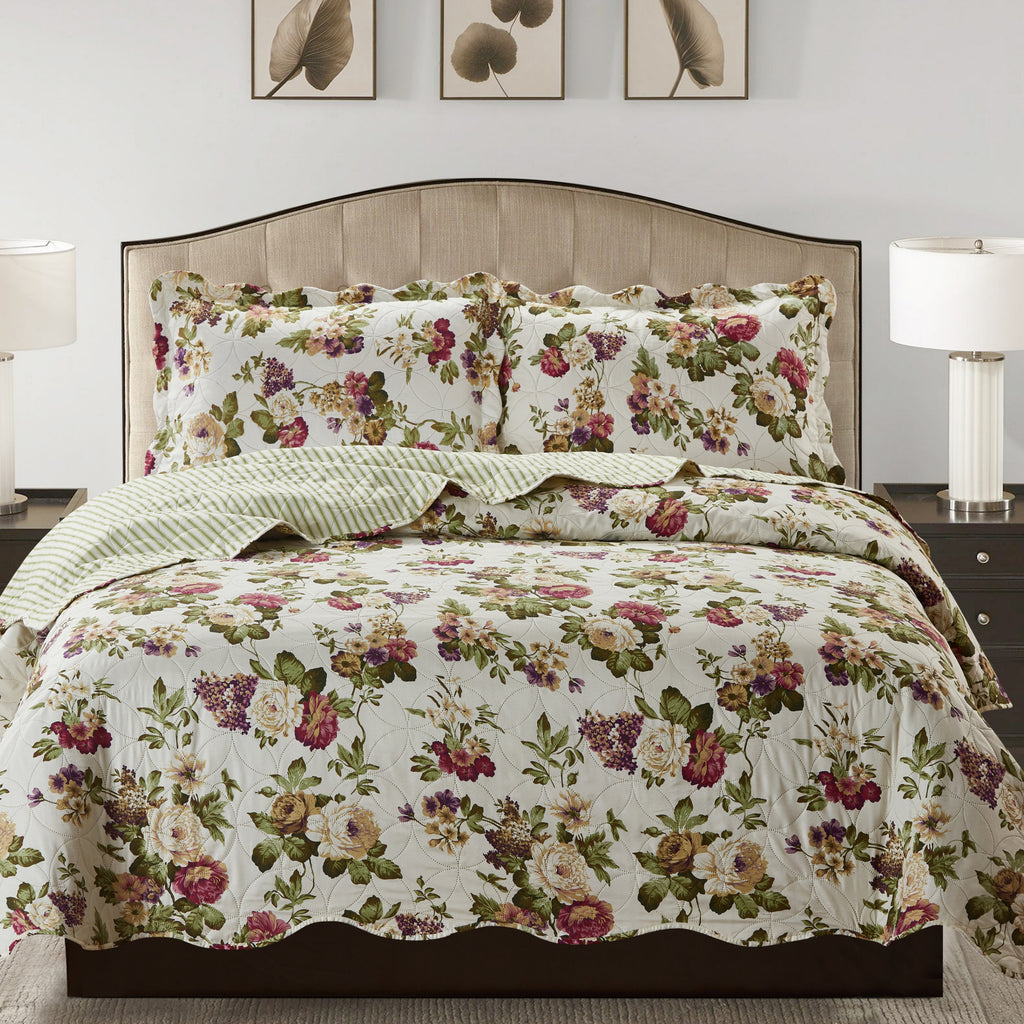Jennifer 3 Piece Quilt Set - Green - Glory Home Design