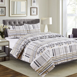 Vera - 3 Piece Quilt Set - Grey Taupe - Glory Home Design