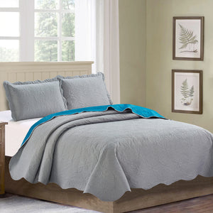 Sherry - 3 Piece - Solid Reversible Quilt Set - Grey - Glory Home Design