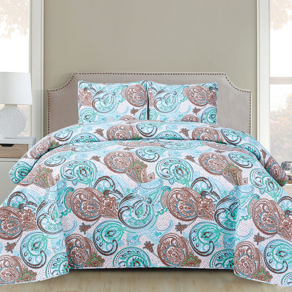 Harper - 3 Piece Quilt Set - Aqua - Glory Home Design