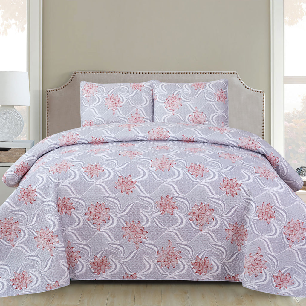 Harper - 3 Piece Quilt Set - Grey - Glory Home Design