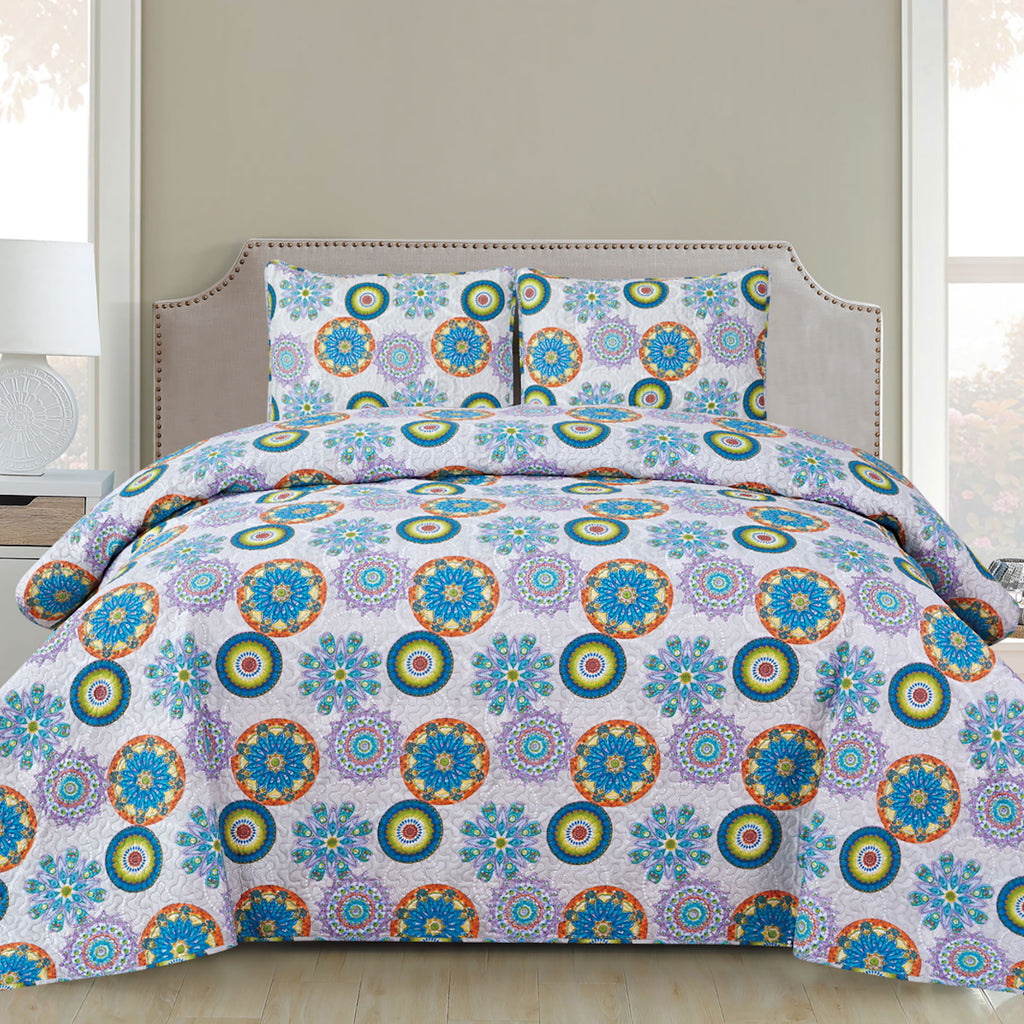 Harper - 3 Piece Quilt Set - Multicolor - Glory Home Design