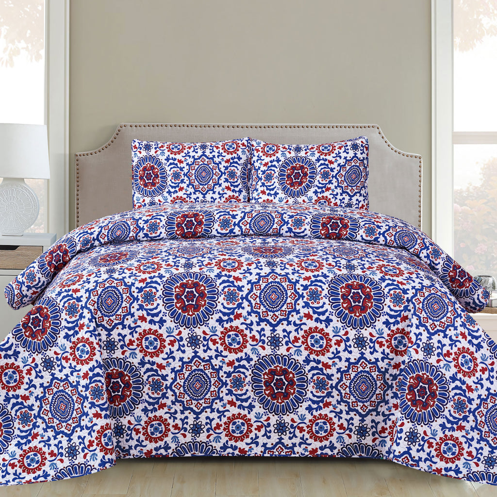 Harper - 3 Piece Quilt Set - Royal blue - Glory Home Design