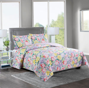 ASHLEY - 3 Piece Reversible Quilt Set - LILAC /YELLOW FLOWER - Glory Home Design