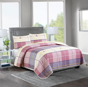 ASHLEY - 3 Piece Reversible Quilt Set - BEIGE BURGUNDY CHECK - Glory Home Design