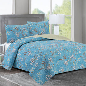 Elisa - 3 Piece Reversible Quilt Set - Lush Blue Vines - Glory Home Design