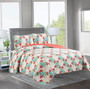 Marian - 3 Piece Reversible Quilt Set - CORAL FLOWER - Glory Home Design