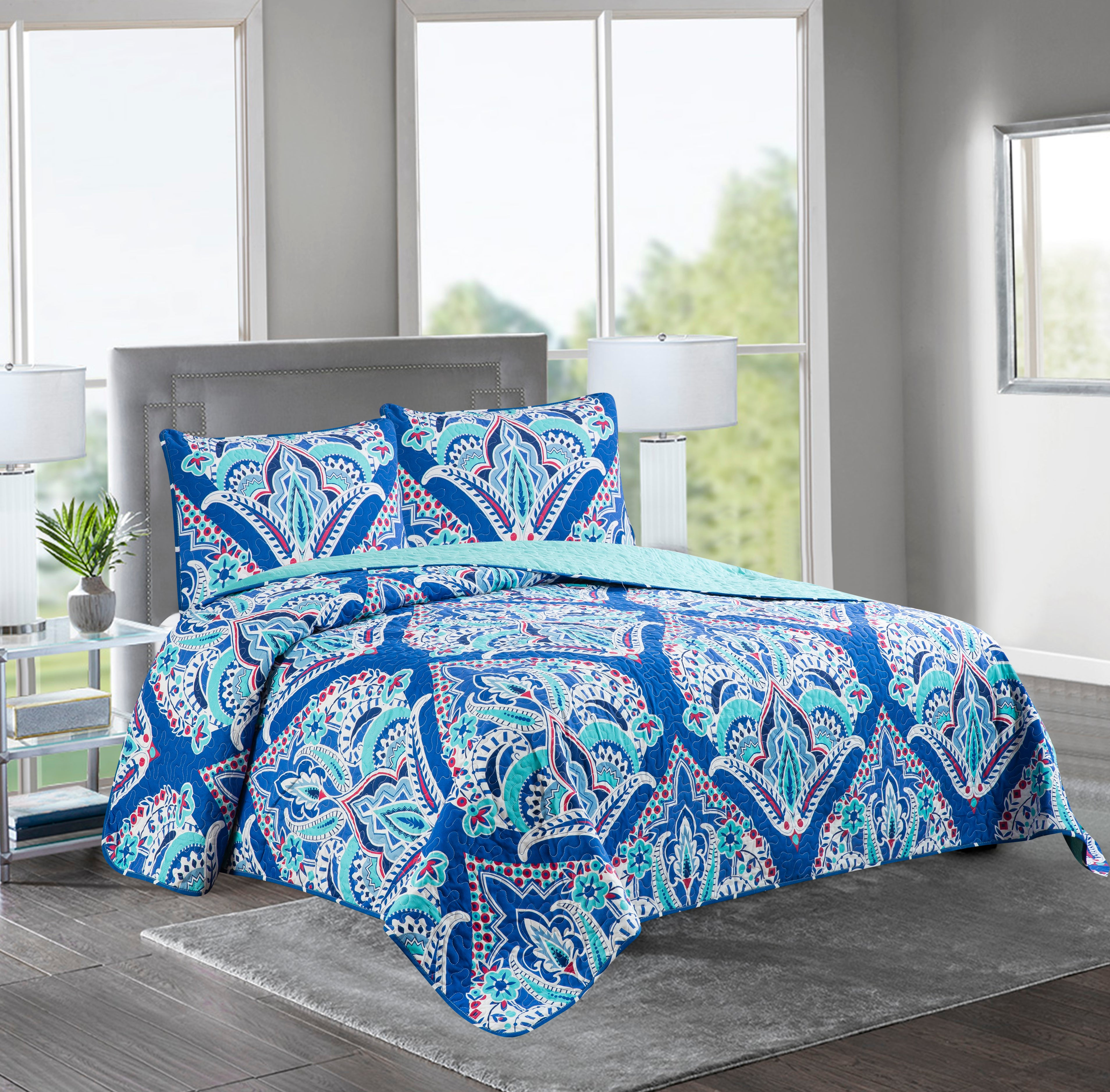 Marian - 3 Piece Reversible Quilt Set -BLUE PATTERN - Glory Home Design