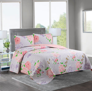Marian - 3 Piece Reversible Quilt Set -LILAC/ROSE - Glory Home Design