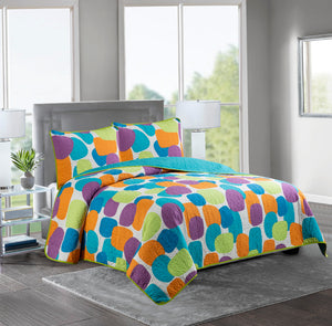 Marian - 3 Piece Reversible Quilt Set -GEOMETRIC MULTICOLOR - Glory Home Design
