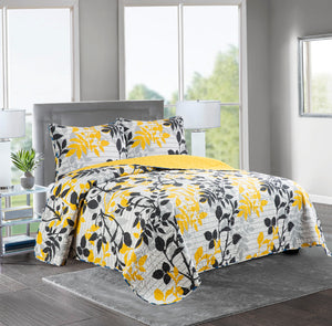 Marian - 3 Piece Reversible Quilt Set - YELLOW/BLACK - Glory Home Design
