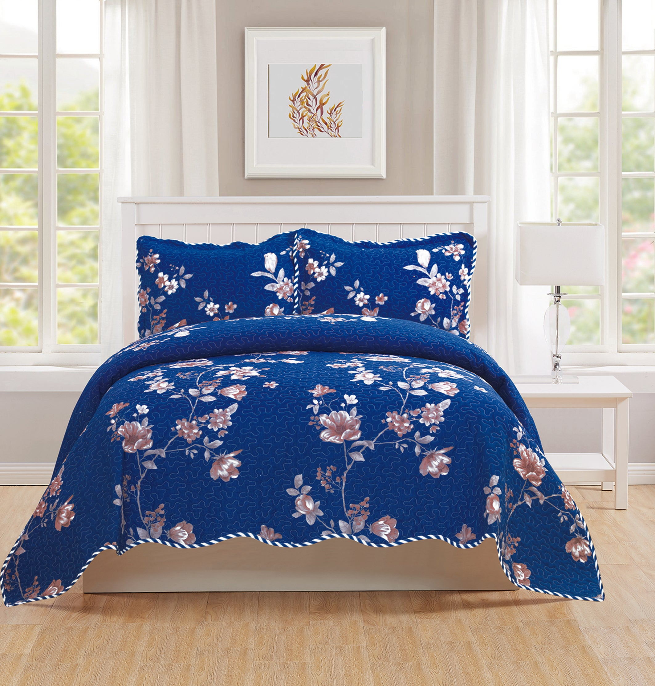 Monica - 3 Piece Quilt bedspread Set queen and king size - Navy - Glory Home Design