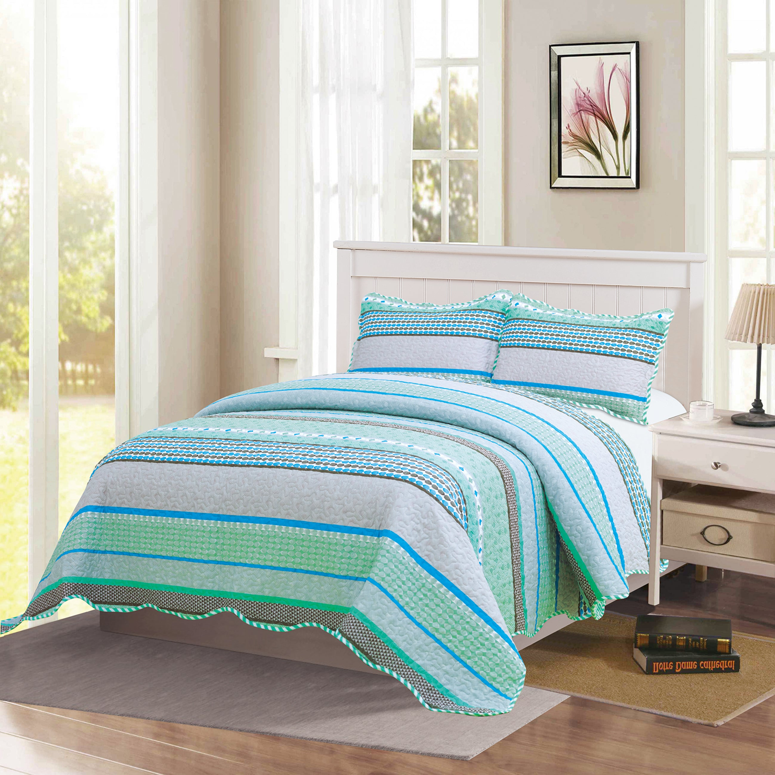 Monica - 3 Piece Quilt bedspread Set queen and king size - Sage - Glory Home Design