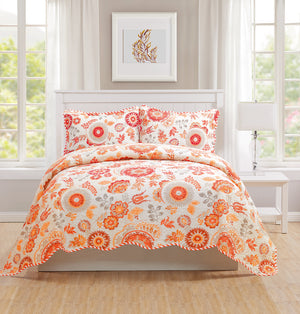 Monica - 3 Piece Quilt bedspread Set queen and king size - Orange - Glory Home Design