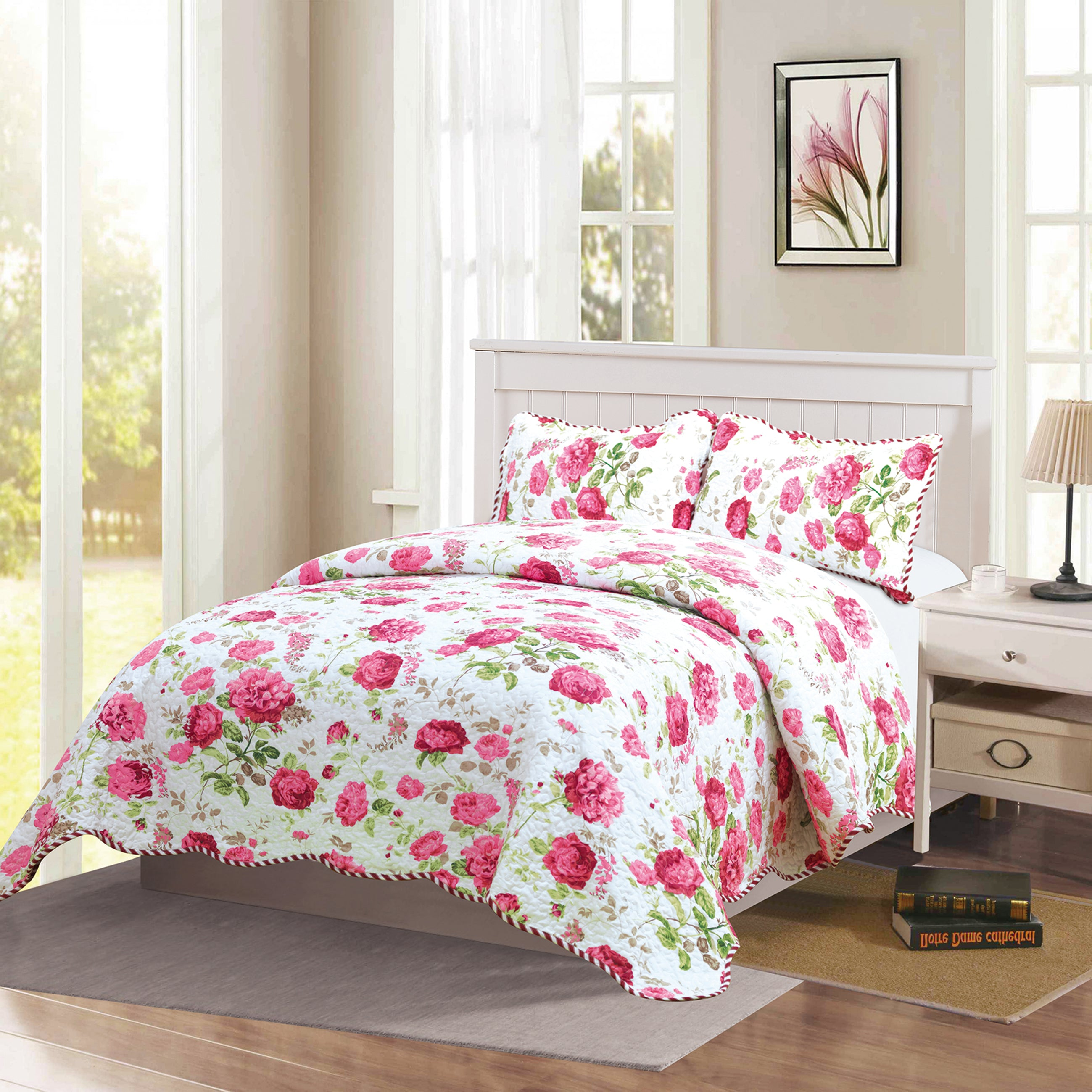 Monica - 3 Piece Quilt bedspread Set queen and king size - Pink - Glory Home Design
