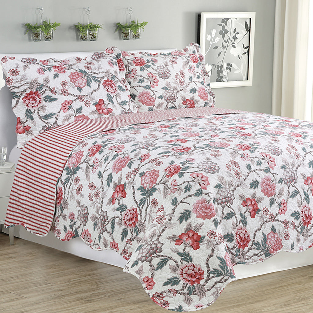 Melissa - 3 Piece Quilt Set - Multi Color Rose - Glory Home Design