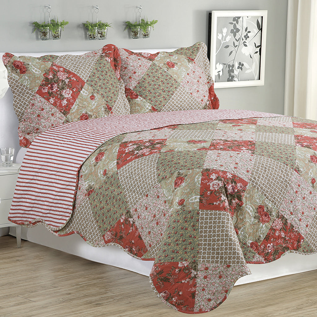 Kim - 3 Piece Quilt Set - Multi Color Floral - Glory Home Design