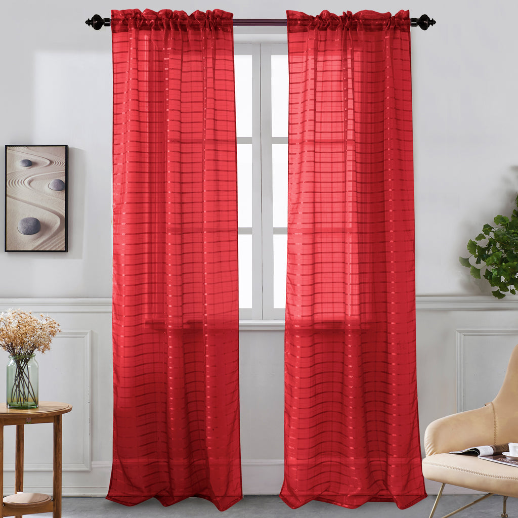 Nancy - Rod Pocket Sheer Panel - Set of Two - Assorted Colors - Glory Home Design