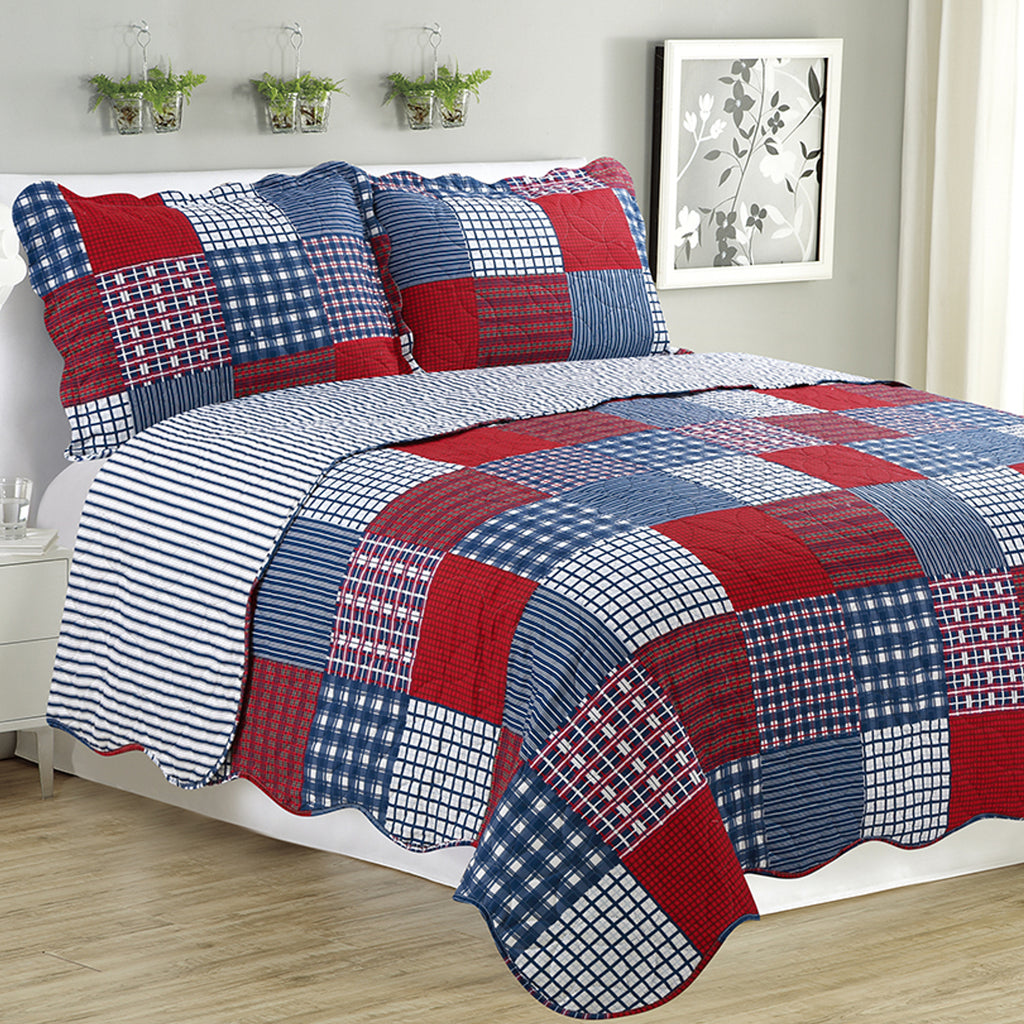 Melissa - 3 Piece Quilt Set - Navy Checker - Glory Home Design