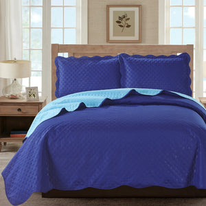 Sherry - 3 Piece - Solid Reversible Quilt Set - Navy - Glory Home Design