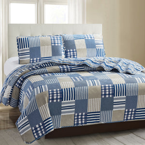 Juliet 3 Piece Quilt Set - Plaid Blue - Glory Home Design
