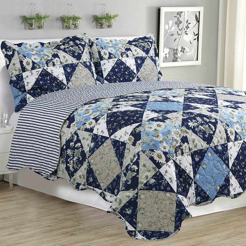 Kim - 3 Piece Quilt Set - Navy Bedtime - Glory Home Design