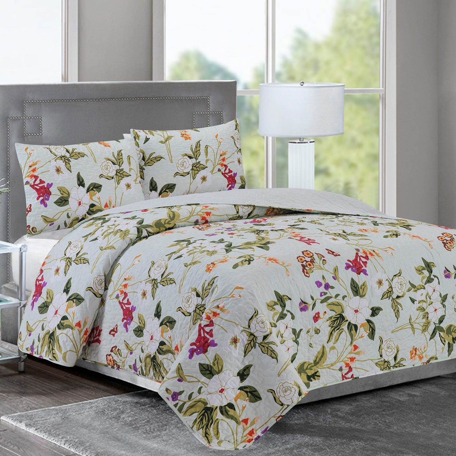 Elisa - 3 Piece Reversible Quilt Set - Off White & Green Floral Bliss - Glory Home Design