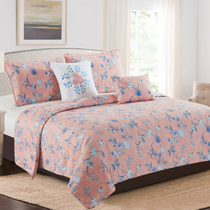 Karina - 5 Piece Quilt Set - Peach Floral - Glory Home Design