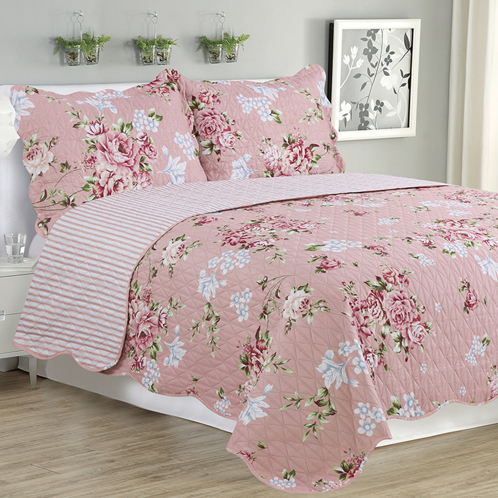 Melissa - 3 Piece Quilt Set - Warm Pink - Glory Home Design