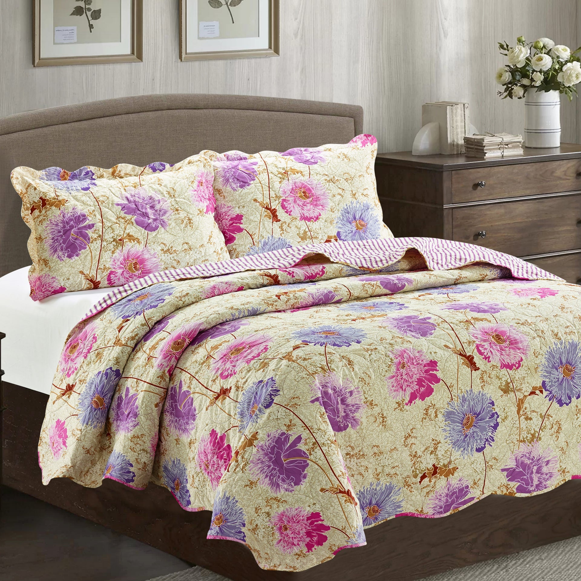 Suzy 3 Piece Quilt Set - Purple - Glory Home Design