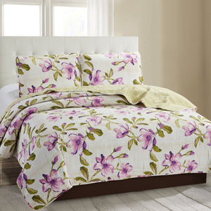 Grace 3 Piece Quilt Set - Purple - Glory Home Design
