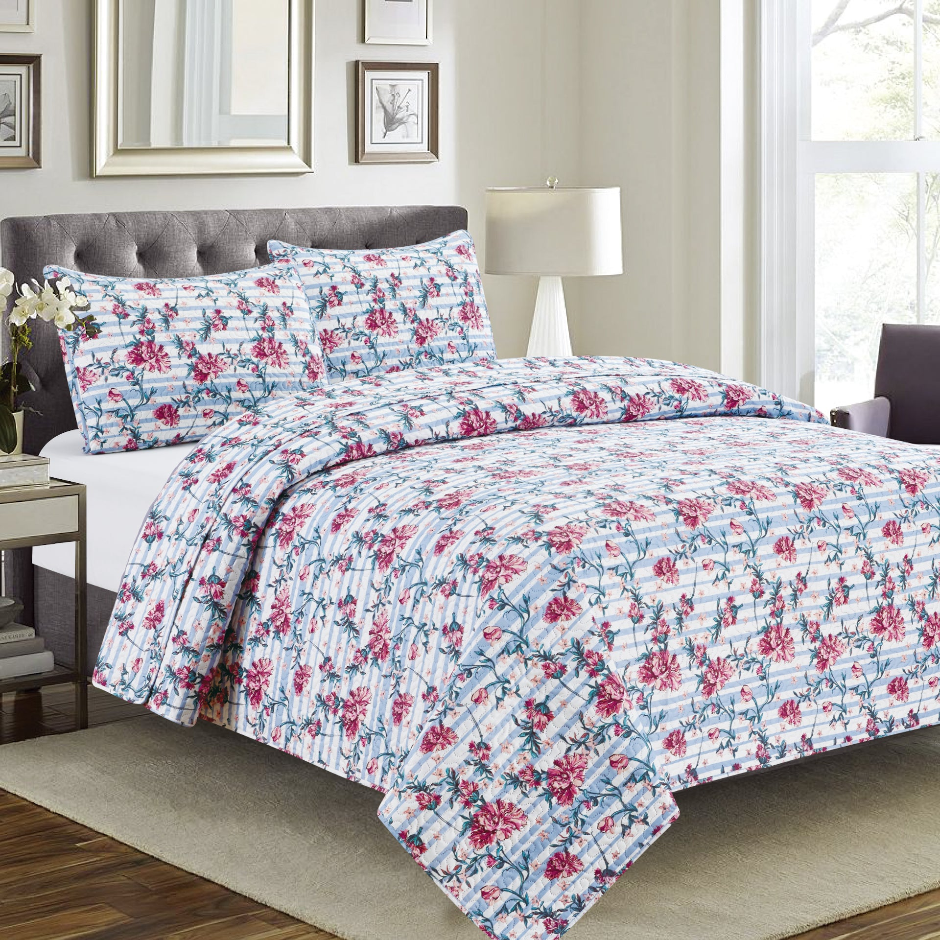 Ruth - 3 Piece Quilt Set - Multi Color - Glory Home Design