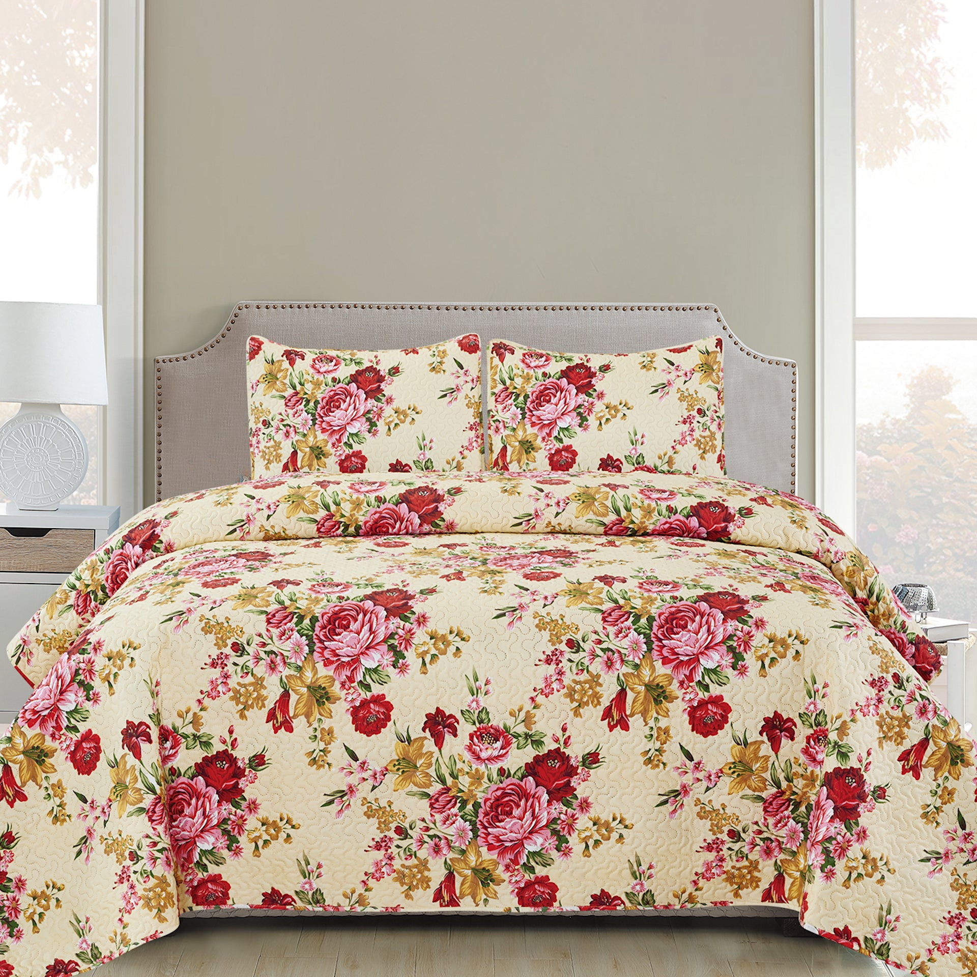 Ruth - 3 Piece Quilt Set - Red - Glory Home Design