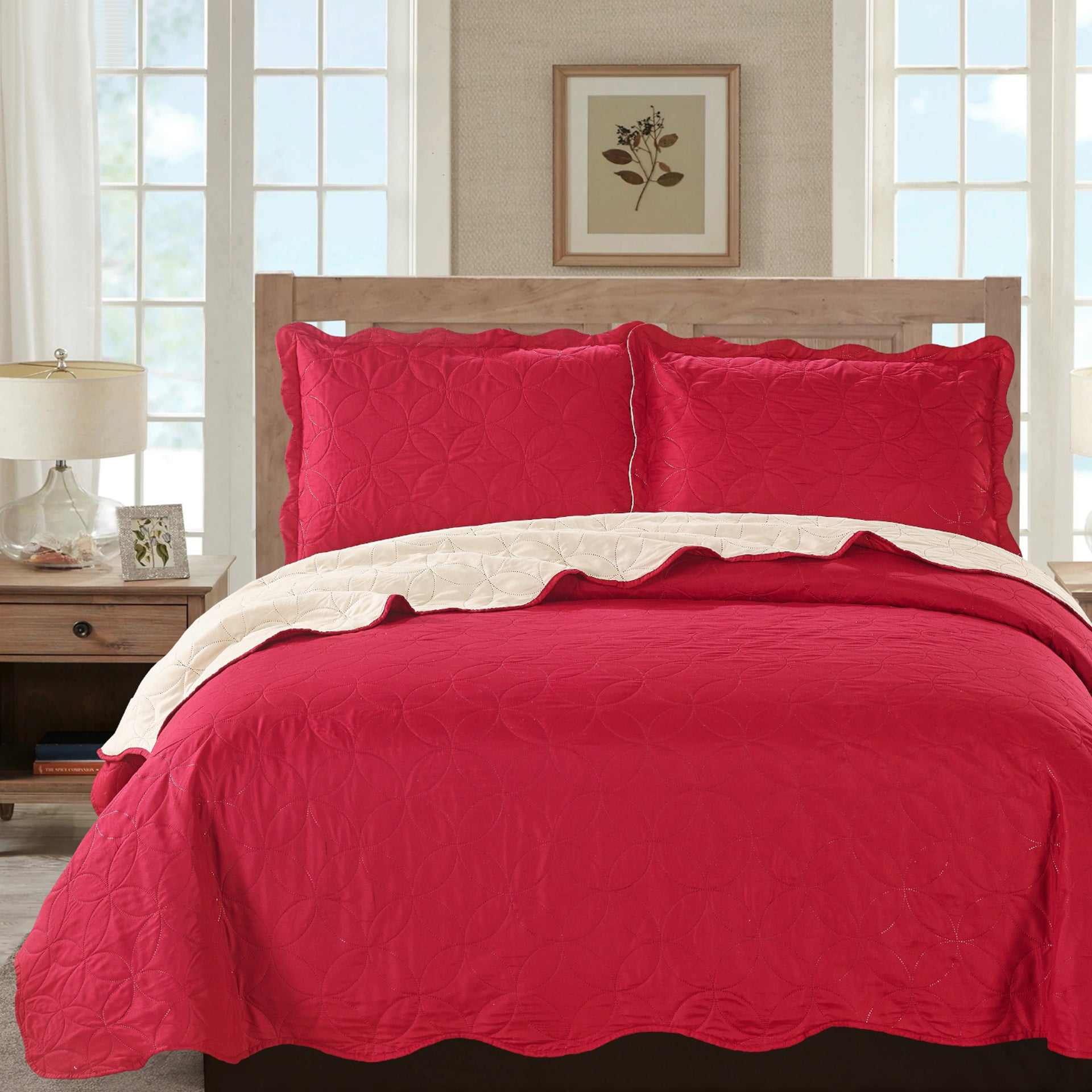 Sherry - 3 Piece - Solid Reversible Quilt Set - Red - Glory Home Design